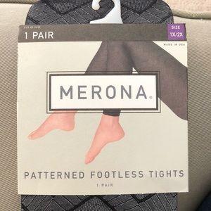 NWT Merona Black Patterned Footless Tights 1x/2x